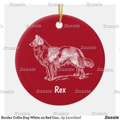 Shop Border Collie Dog White on Red Custom Name Ceramic Ornament created by LeonOziel. Collie Dog, Border Collie, Christmas Holidays, Christmas Ornaments, Periwinkle Blue, White Elephant Gifts, Holiday Cards, Art Pieces, Ceramics