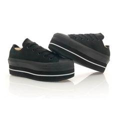 Klack Smith Custom Platform Converse  All Black by KLACKSMITH, $120.00