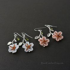 Your place to buy and sell all things handmade Seed Bead Jewelry, Bead Earrings, Etsy Earrings, Seed Beads, Light Peach Color, Peach Colors, Cherry Blossom Flowers, Beading Needles, Beads And Wire