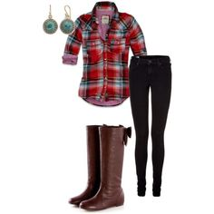 plaid and the boots have bows!!