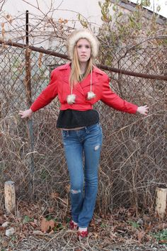 80s Leather Jacket Biker Red Cropped Motorcycle by ScarletFury Purchase for $89, https://www.etsy.com/listing/116590436/80s-leather-jacket-biker-red-cropped? Women's vintage fall outerwear fashion clothing