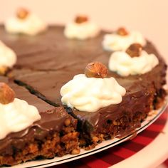 A delicious nutty crust base with so much flavor topped with a silky and not too sweet chocolatey pie.