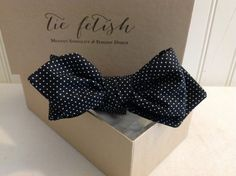 Black and white micro polka dots self tie pre tied bow tie diamond tip