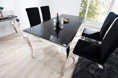 MODERN BAROCK fekete étkezőasztal 200cm #lakberendezes #otthon #otthondekor #homedecor #homedecorideas #homedesign #furnishings #design #furnishingideas #housedesign #livingroomideas #livingroomdecorations #decor #decoration #interiordesign #interiordecor #interiores #interiordesignideas #interiorarchitecture #interiordecorating #metaldesign #metaldecoration #metalinterior #metaldecor #metalfurniture #metalbedframe Dining Room Table Decor, Dining Room Design, Living Room Decor, Table Design, Küchen Design, House Design, Modern Design, Design Ideas, Design Baroque