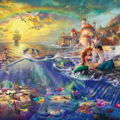 little mermaid thomas kinkade painting walt disney pictures calender. I have the calender.