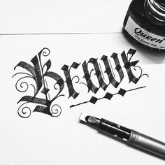 """""""Brave ✊ #typography #typewa #calligraphy #wanghuy #typovn #typographyinspired #typographie #typostrate #typographyserved #goodtype #thedailytype…"""" Gothic Lettering, Tattoo Lettering Fonts, Types Of Lettering, Lettering Styles, Lettering Design, Hand Lettering, Gothic Script, Calligraphy Words, Calligraphy Alphabet"""