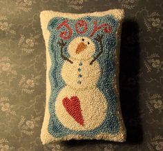Primitive Needle Punch Pillow PATTERN Joy by thetalkingcrow, $8.00