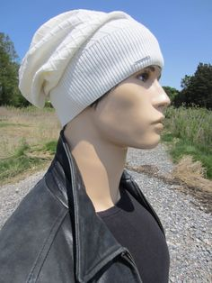 0f992a636bdab9 Men's Knit Hat Slouchy Beanie Lightweight Summer Cotton Slouch Tam Skull Cap  Ivory White A1699