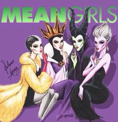 Regina, Ursula, Cruela, and Maleficent. #evil squad