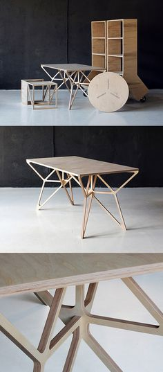 A Collection Of Plywood Furniture Designed In Which Includes A Work Desk, A  Coffee Table, A Side Table And Movable Container.