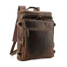 67c3c5e54a3 Vintage Leather Backpack, Leather Backpack For Men, Laptop Rucksack, Laptop  Bag, Vintage