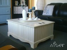This coffee table got a great face lift! Love the Bead board siding! #coffee_table #beadboard