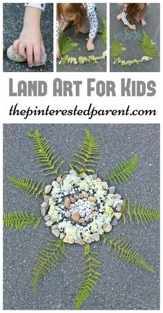 Land art - arts and crafts outdoors with nature. Rocks, leaves, flowers and ferns. Fun activities for kids spring, summer and fall