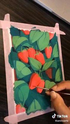 Small Canvas Paintings, Diy Canvas Art, Art Painting Gallery, Canvas Painting Tutorials, Cool Art Drawings, Gouache, Art Tutorials, Art Lessons, Watercolor Art
