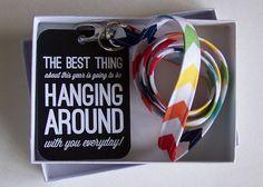Great back to school teacher gift! Rainbow Chevron Stripe Fabric Lanyard Gift by ewindbiglerdesign, $9.95