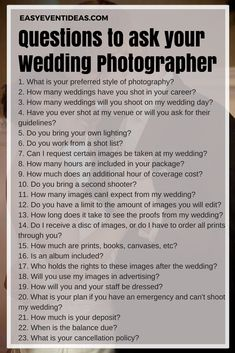 Questions to ask your wedding photographer – Wedding Pictures Cute Wedding Ideas, Wedding Pics, Budget Wedding, Perfect Wedding, Wedding Events, Dream Wedding, Wedding Day, Wedding Stuff, Trendy Wedding