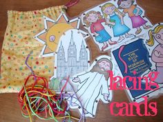 cards-kids crafts Great to go in a church activity bag. Lacing Cards for church or conference MoreGo Go, G. may refer to: Nursery Activities, Lds Church, Church Ideas, Church Activities, Sunday Activities, General Conference Activities For Kids, Family Activities, Activity Bags, Relief Society Activities