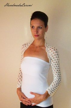 Ivory100 Cotton wedding shrug Bridal knit bolero by HandmadeLaremi, $97.00