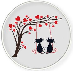 INSTANT DOWNLOAD,Free shippingCounted Cross-Stitch PDF,Love cats and hearts tree,valentine's day, wedding,zxxc0604