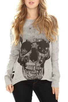 Distressed Skull Hi-Lo Pullover Crew-Neck Sweatshirt