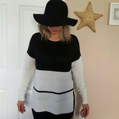 New TROUVE knit sweater (XS,S,M available ) Light weight ivory and black. Longer back detail. Picture shown is size small. Trouve Sweaters