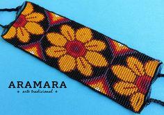 Mexican Huichol Loom Beaded Flower Bracelet by Aramara Tribal Patterns, Bead Loom Patterns, Peyote Patterns, Beading Patterns, Peyote Bracelet, Loom Bracelets, Mexican Jewelry, Seed Bead Necklace, Tear