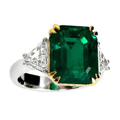 Eight Carat Colombian Emerald and Diamond Three Stone Engagement Ring, ca. 1960s