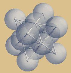 Das Sterntetraeder als namensgebender Ausschnitt des kubisch flächenzentrierten Kristallgitters der dichtesten Kugelpackung betrachtet. Näheres unter: http://tetraktys.de/geometrie-6.html