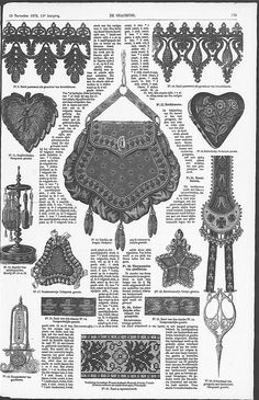 November issue page 173 Vintage Purses, Vintage Handbags, Vintage Sewing Patterns, Embroidery Patterns, Pouch Pattern, Antique Lace, Knitted Bags, Historical Clothing, Vintage Love