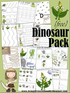 {free} 40 page dinosaur pack with learning activities for kids 2-7 years old. Great for preschool!