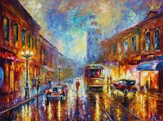 Los Angeles 1920 — Palette Knife California Cityscape Oil Painting On Canvas By Leonid Afremov.     #losangeles