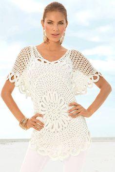 Beyaz iple örülmüş tığ işi bayan bluzlar