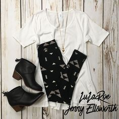 LuLaRoe Perfect T with leggings and Toms booties. Shop LuLaRoe at www.facebook.com/groups/LuLaRoeJenny/