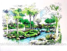Quick And Easy Landscaping On A Budget - House Garden Landscape Landscape Architecture Drawing, Landscape Sketch, Park Landscape, Landscape Drawings, Landscape Plans, Art And Architecture, Landscape Design, Perspective Sketch, Conceptual Drawing