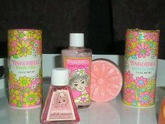 This brings back a ton of memories! I never got Tinkerbell stuff, but my childhood best friend Tina did. So I enjoyed hers, thank God for sharing friends. Vintage Tinkerbell beauty goodies for girls My Childhood Memories, Childhood Toys, Sweet Memories, School Memories, 1970s Childhood, Childhood Friends, Avon Products, Household Products, Beauty Products