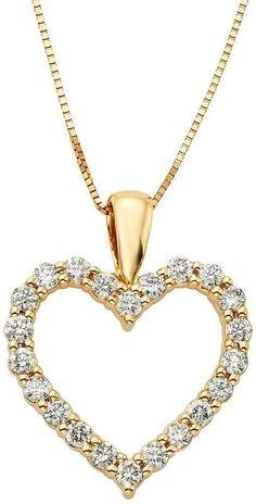 Kohl's 1/2 Carat T.W. IGL Certified Diamond 14k Gold Heart Pendant Necklace