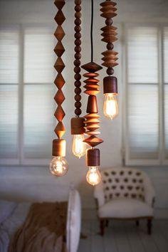 Chunky wood bead light fixtures