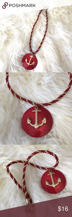 Nautical Anchor Necklace! Gorgeous red and gold anchor necklace! Twisted red and gold rope form the length of the necklace with a round red disc and gorgeous gold anchor as the pendant ⚓️✨💕 Jewelry Necklaces