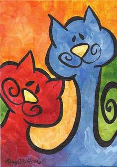 """""""Two Peas in a Pod - Whimsical Kitty Cats"""" - Stacey Bonham Wall Art Prints, Fine Art Prints, Diy Art Projects, Paint And Sip, Whimsical Art, Acrylic Painting Canvas, Dog Art, Painted Rocks, Art For Kids"""