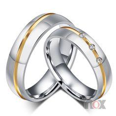 Homens mulheres moda anéis de casamento por atacado AAA CZ pedra anéis para mulheres e homens anéis de aço inoxidável frete grátis em Anéis de Jóias no AliExpress.com | Alibaba Group