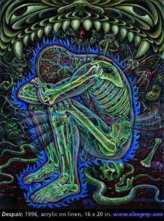 Alex Grey, Alex Gray Art, Grey Art, Grey Abstract Art, Sacred Geometry Tattoo, Meditation Art, Hippie Art, Visionary Art, Poster Prints