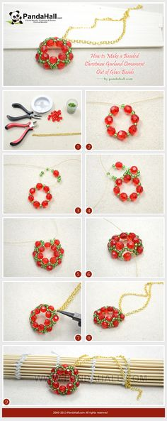 How to Make a Beaded Christmas Garland Ornament Out of Glass Beads