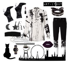 """""""Art-it out"""" by mjhm3 ❤ liked on Polyvore featuring Versus, YOANA BARASCHI, PINTRILL, Fallon, Lime Crime and MAC Cosmetics"""