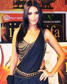 Neha Dhupia in saree and statement blouse