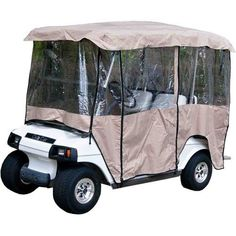 Golf Clubs - Tan Golf Cart Enclosure Vinyl Cover 4 Passenger Carts with 80 Top Golf Cart Parts, Golf Carts, Golf Cart Accessories, Vinyl Cover, Van, Outdoor, Outdoors, Outdoor Games, Vans