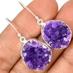 Amethyst Druzy 925 Sterling Silver Earrings Jewelry AMDE225