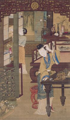 """Qing dynasty, Jin Ting Biao, """"Court lady putting hairpins & flowers in hair"""" (?) while servant retrieves a book for her mistress Art Painting Gallery, China Painting, Traditional Paintings, Traditional Art, China Exhibition, Qianlong Emperor, Art Chinois, Bonsai Art, Art Japonais"""