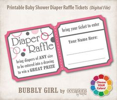 Baby Shower Diaper Raffle Tickets Digital by OccasionsByMarjae, $6.00