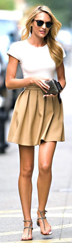 Perfect White Sleeveless Shirt Bronzed Mid Skirt Trending Look