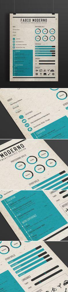 Curriculum / Resume by Fábio Moderno, via Behance